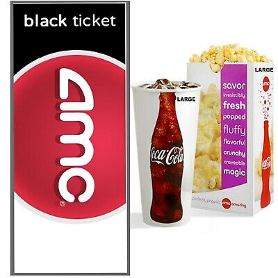 Amc Theatres Deal- 1 Black Movie Ticket, Popcorn & Drink - Fast Digital Delivery