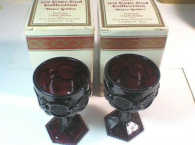 2 Vintage Avon Ruby Red Cape Cod Water Goblets
