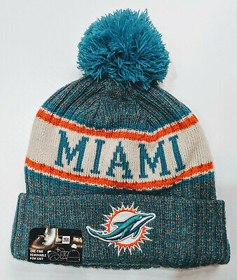 03d264581 Miami Dolphins New Era 2018 NFL Sideline Cold Weather Official Sport Knit  Hat.