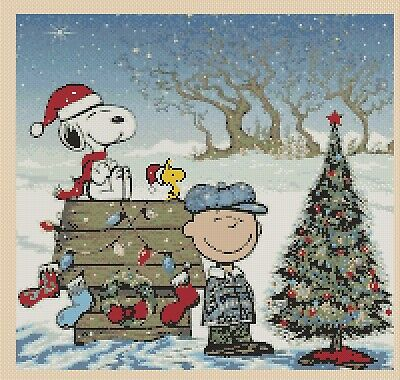Immagini Natale Snoopy.Charlie Brown E Snoopy Natale Punto Croce Kit Completo 10 84