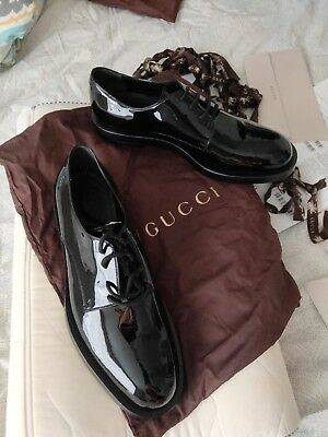 21e6f65fd3f MENS GUCCI BLACK Patent Leather Formal Lace-Up Tuxedo Shoes ...