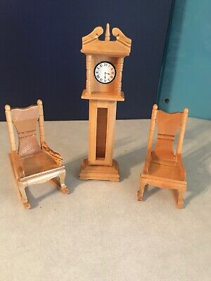 Dollhouse Furniture 2 wood Rocking Chairs With Arms  & A Grandfather Clock Oak