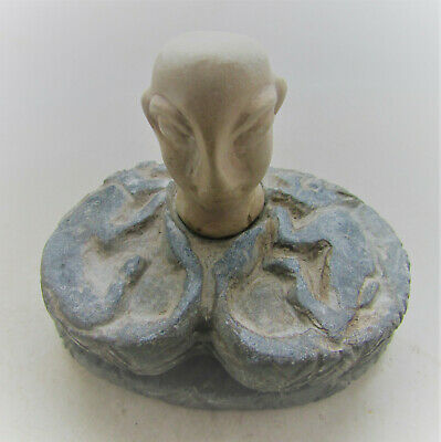Ancient Bactria Chlorite Stone Diety With Hardstone Bust