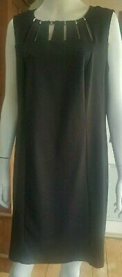 Tania Kay Sz 16 Black Jersy Dress - SILVER BEADING at SCOOP NECKLINE Sleeveless