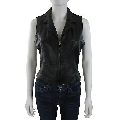 Wilsons Womens Black Leather Stretch Sleeveless Zip Front Vest Top sz M