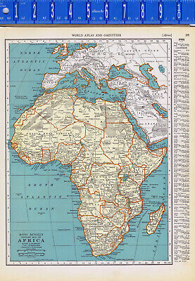 "1935  EGYPT & The CONTINENT of AFRICA -  2-Sided Color Map 11"" X 14"""