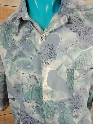 Mens Vintage Shirt Abstract Pattern SIZE 4XL GREYS AND GREEN Brand POSTCARD