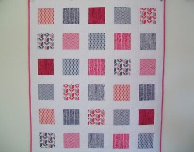 HANDMADE Patchwork Baby Girl Cot Quilt - Pink & Grey prints w White Background