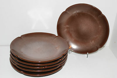 "9 Vintage Frankoma Brown Pottery Plainsman 9"" Dinner/luncheon Plates-5Fs"