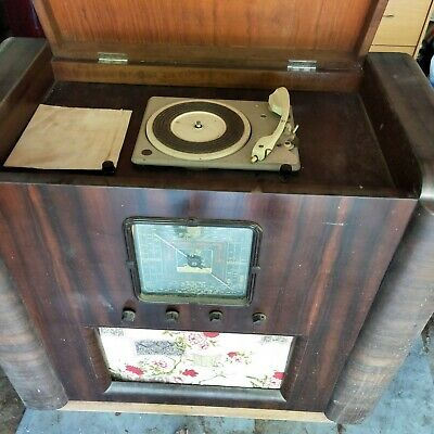 old valve radiogram with record player. Heathkit built in late 1950's