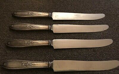 Vintage Lot Of 4 Insico Stainless Blade Silver Plate Handle Knives