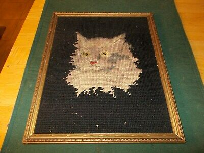 Early 190Ss Needlepoint Picture Of A Gray Cat's Head With Black Background
