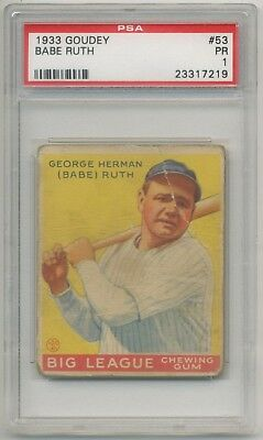 1933 Goudey Gum #53 Babe Ruth (HOF) PSA 1 GOOD EYE APPEAL Yankees SET BREAK