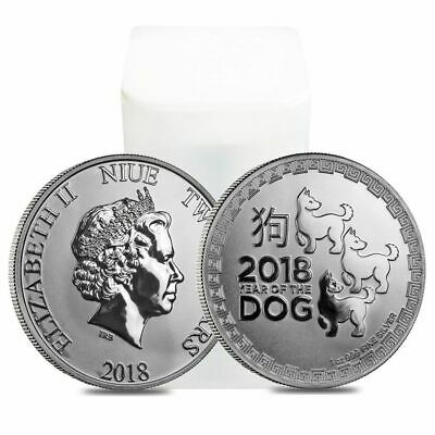 Roll of 20 - 2018 1 oz Niue Silver $2 Year of the Dog BU (Tube, Lot of 20)