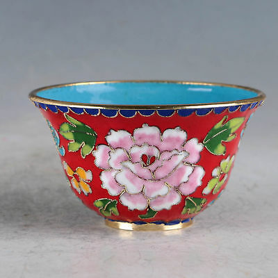 Chinese Cloisonne Hand-made Flowers Bowl JTL1030`a