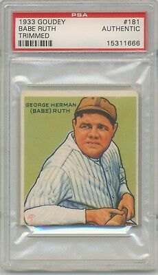 1933 Goudey Gum #181 Babe Ruth (HOF) PSA A Trimmed New York Yankees SET BREAK