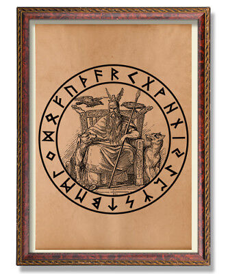 Vintage Odin print Viking poster Rune decor Norse illustration Pagan art Occult