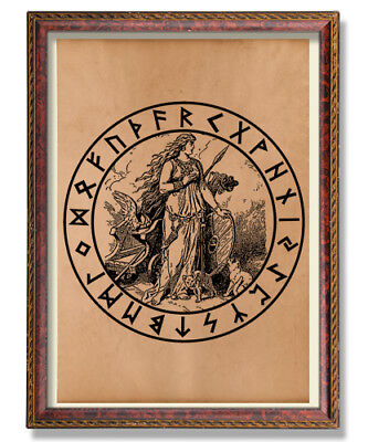 Freya print Rune poster Occult decor Norse illustration God art Viking print