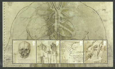 Gb 2019 Leonardo Da Vinci Art Drawings Skull Anatomy Booklet Pane Mnh