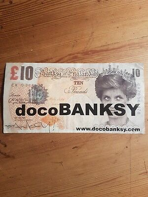 DocoBanksy Di-faced £10 Pound Note Diana Used Sticker Promo Banksy Documentary
