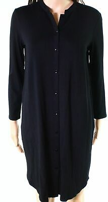 ec8b519cfbb96 Eileen Fisher NEW Black Womens Size Small S Button Down Shift Dress  178-  564