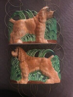 2 Vintage Dog Wall Pockets + 2 Matching Wall Hangers Japan Lefton, # K 1385