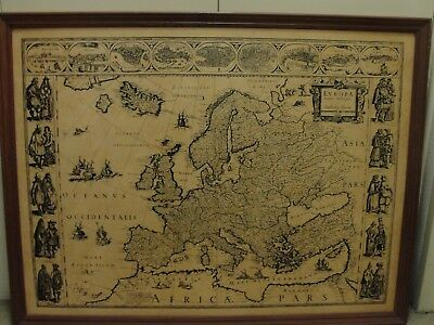 Framed vintage map of Europe