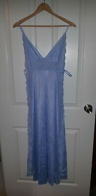 2 Piece Vintage Hickory Nightie & Dressing Gown Robe Set Nylon Lace SZ 10 As New