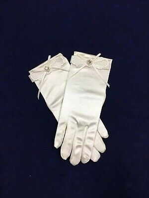 Bridesmaid//Flower Girl BN Ivory Satin Bow Glove  Ideal Holy Communion