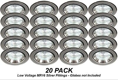 20 x Silver Chrome Fixed Downlight Fittings 12V MR16 Low Voltage 70mm Cutout