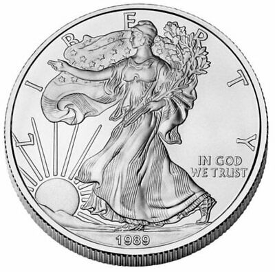 1 OZ dollaro USA LIBERTY EAGLE 1989 ARGENTO SILVER ONCIA