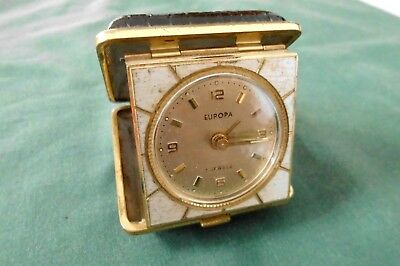 """Vintage retro small travel alarm clock """"Europa"""". Made in Germany. Working"""