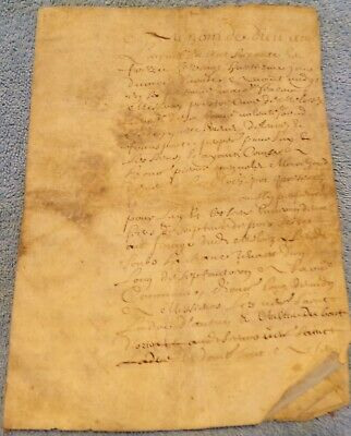 Early French Vellum Document, 6 Pages Text
