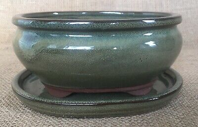 Green Glazed Oval Bonsai Pot With Matching Drip Tray 15x12x7cm
