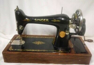 Vintage Heavy Duty Singer 66K Manual Sewing Machine with Case Key Accessories
