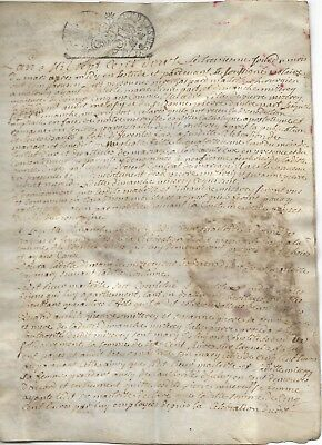 "Early French Vellum Document ""Marriage Contract"" 1712"