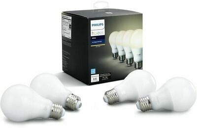 PHILIPS Hue Smart Home Wireless Light Bulb A19 LED 60W, Dimmable White (4 Pack)