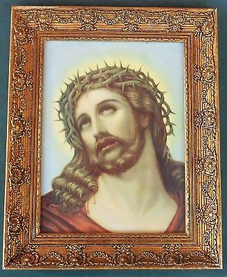 Early 20th Century vintage Antique Jesus Christ vintage icon glass in old frame