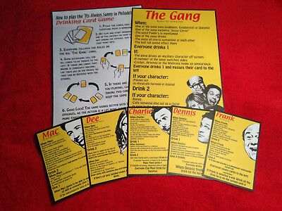 Its Always Sunny in Philadelphia drinking game cards (Now Laminated!)