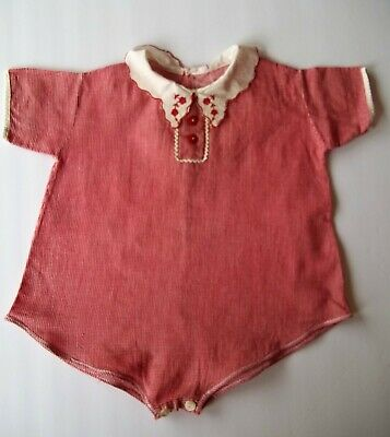 Vintage 1940's 50's Baby romper Red Check with Embroidered collar sz 1-2 infant