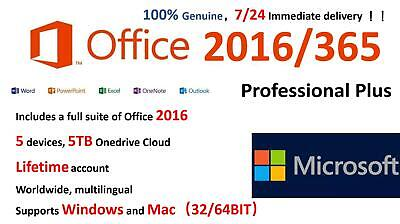 Microsoft Office365/2016 Professional Plus Windows, Mac, Mobile/5PC/5TB/32,64BIT