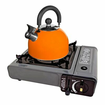 2L Deluxe Lightweight Stainless Steel Whistling Camping Kettle Orange
