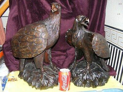 antique carved wood eagles,pair,vintage carving.heavy ornaments,good display.VGC