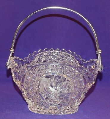 Vintage Hofbauer Crystal Byrds Collection Stainless Steel Handled Basket 7.5""