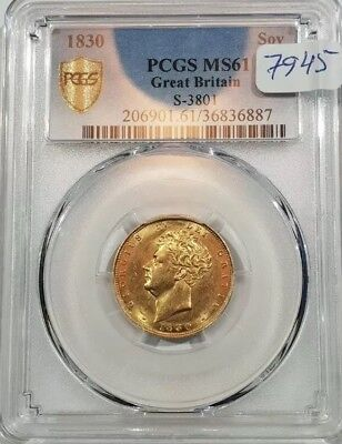 1830 Gold Sovereign,  PCGS Slabbed & Graded MS61