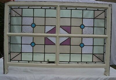 Art deco leaded light stained glass window sash R820e. DELIVERY OPTIONS