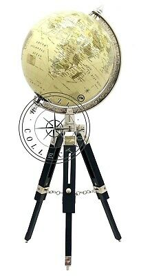 Vintage World Map Globe With Black Wooden Tripod Stand Nautical Table ORNAMENT