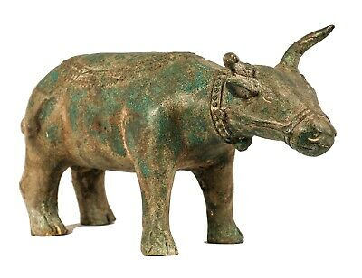"""Antique Khmer Style Bronze Water Buffalo or Ox with Musician - 26cm/10"""" Long"""