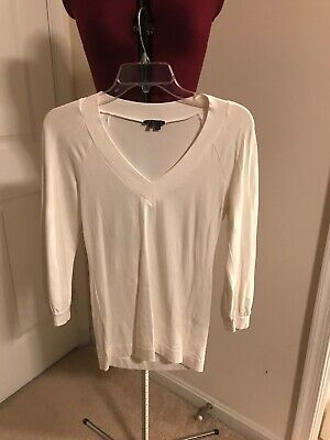 dd94fccb499f5 THEORY IVORY RIBBED wool sleeveless pullover top shirt blouse sz M ...