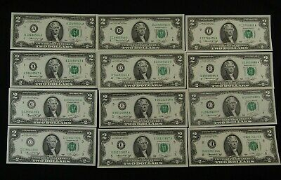 1976 Two Dollar Bills - Lot of 12 - Uncirculated - Very Crisp